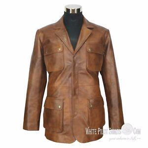 Giacca Stile Militare Vintage Uomo Pelle Tasche 4 Marrone Antico Douglas Di HI1dqnXp