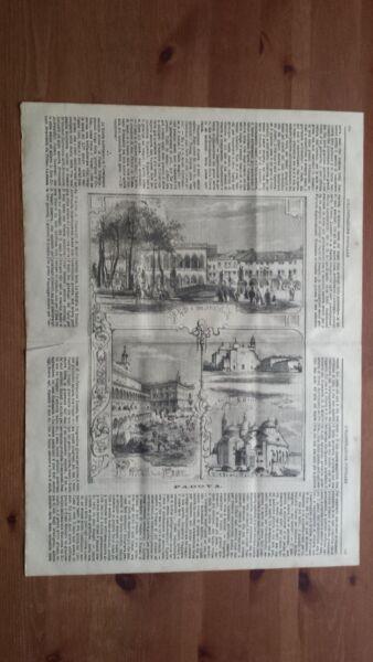 100% Vero 1871 Veduta Padova, Prato Della Valle, Piazza Delle Erbe, Chiesa Del Santo