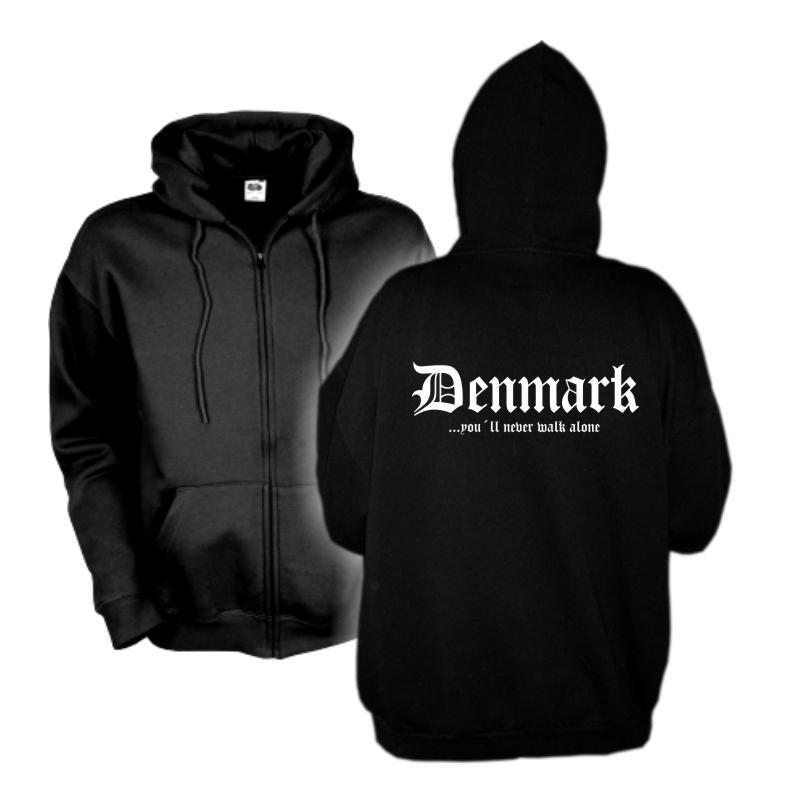 Kapuzenjacke DÄNEMARK Denmark never walk alone Zip Hoodie S - 6XL (WMS01-16e)