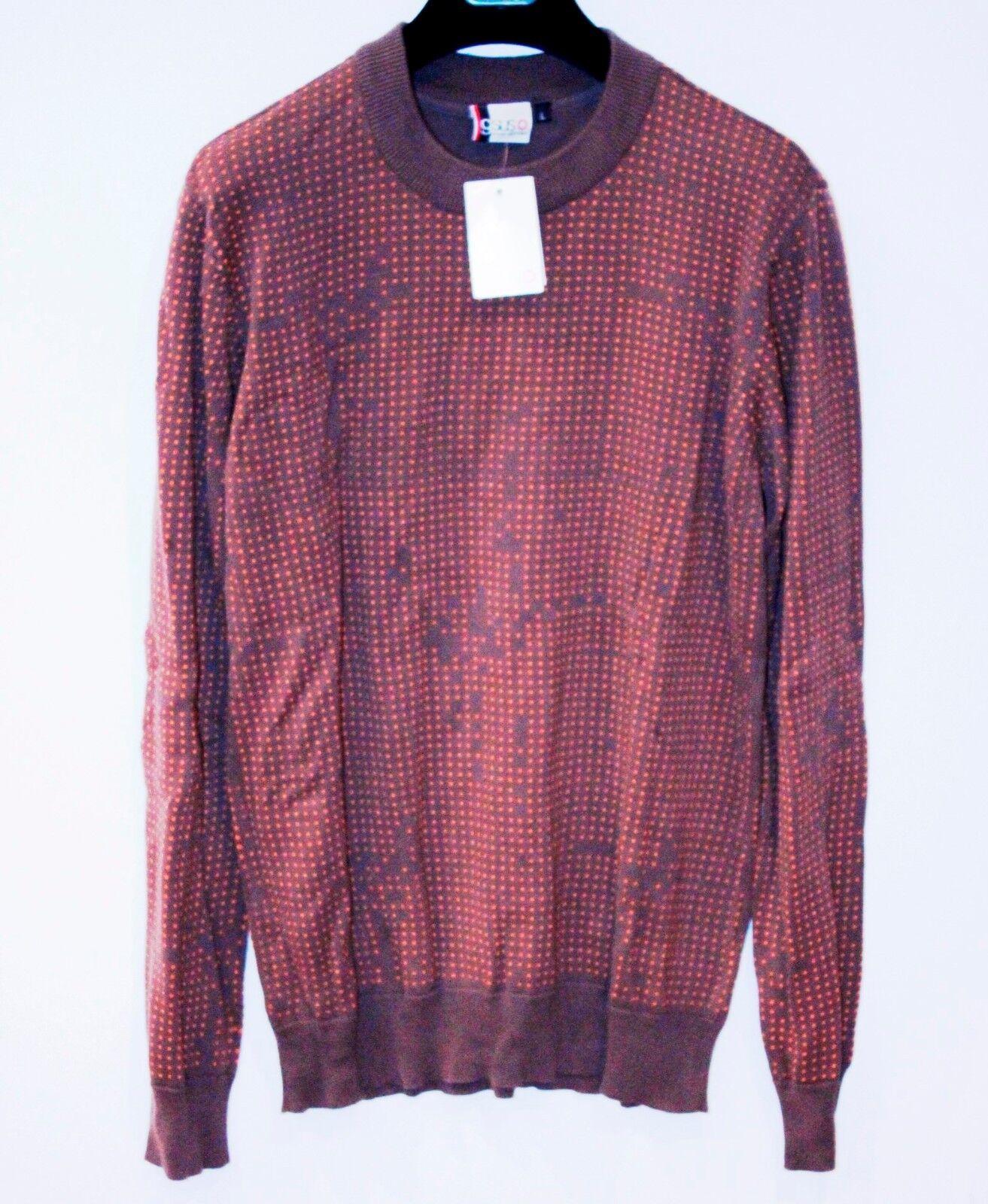 GSUS Spencer KNIT SWEATER Pullover Long Sleeve Shirt POLKA Braun Orange DOTS