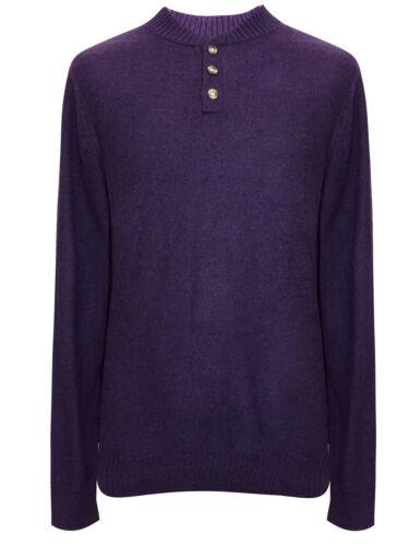 Nouveau Homme NEXT Violet à encolure ras-du-cou Mailles Fines Pull Avec Laine En Tailles XL /& 3XL