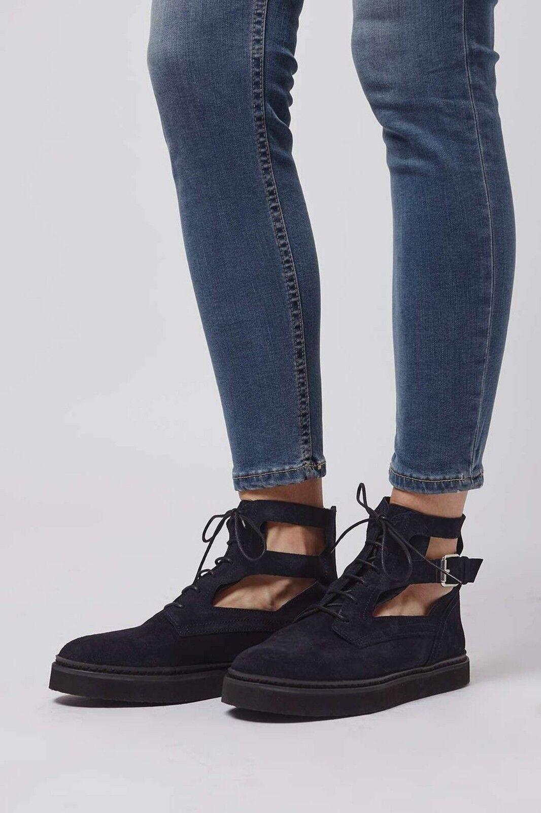 TOPSHOP SIZE Damenschuhe FLAT Stiefel Blau LEATHER CUTOUT BOOTIES SIZE TOPSHOP UK4 EUR37 US6.5 1219d8