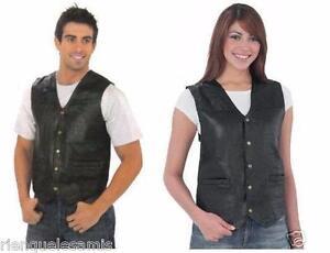 S à 7XL Biker country homme ou femme Gilet jacket en Cuir sans manches