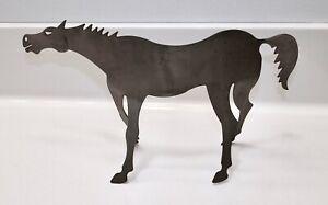 "Steel Metal BRUTALIST Modern HORSE SCULPTURE Folk Art 5 1/2"" HAND SIGNED Unusual"