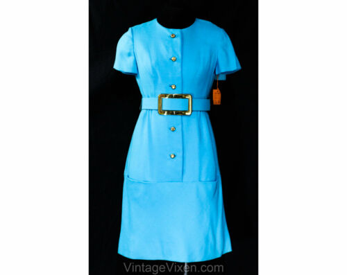Size 4 Turquoise Dress - Mod Sarmi 1960s Ocean Blu