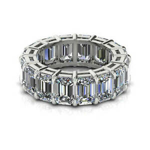 7.36 Ct Emerald Moissanite Engagement Eternity Band Real 18K White Gold Ring 7
