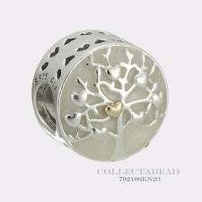 Authentic Pandora Silver & 14K Gold Tree of Hearts Enamel Bead 792106EN23
