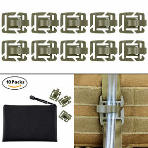 10-Pcs-OD-Green-Mlitary-Tube-Pipe-Clip-Holder-in-Zippered-Bag-for-Molle-Webbing
