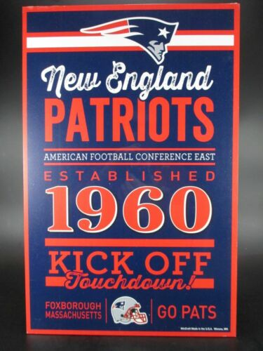 NEW England Patriots SCUDO in legno 43 cm NFL Football established Wood sign