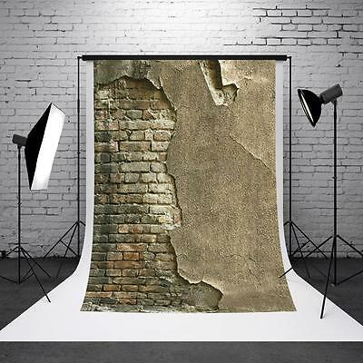 3x5ft Crack Gray Wall Brick Wall Photography Backdrop Photo Studio Background