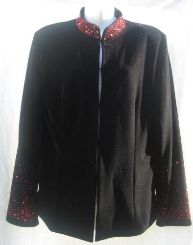 New Manadarin Collar Beaded Velvet Jacket  Size 10 to 20