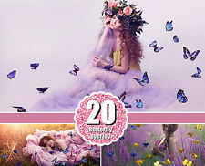 20 Butterfly Photo Overlays, Photography Overlays for Photoshop, png file