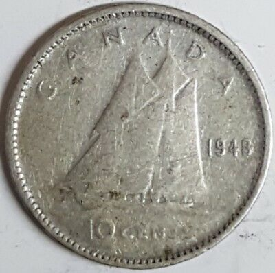 Canada Key Date 1948 Ten Cent Rare Silver Coin ID#AC29.