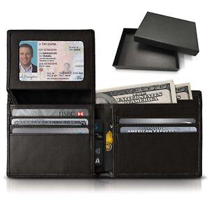 Mens-Genuine-Cowhide-Leather-Credit-ID-Card-Holder-Bifold-Wallet-Slim-Purse-Gift