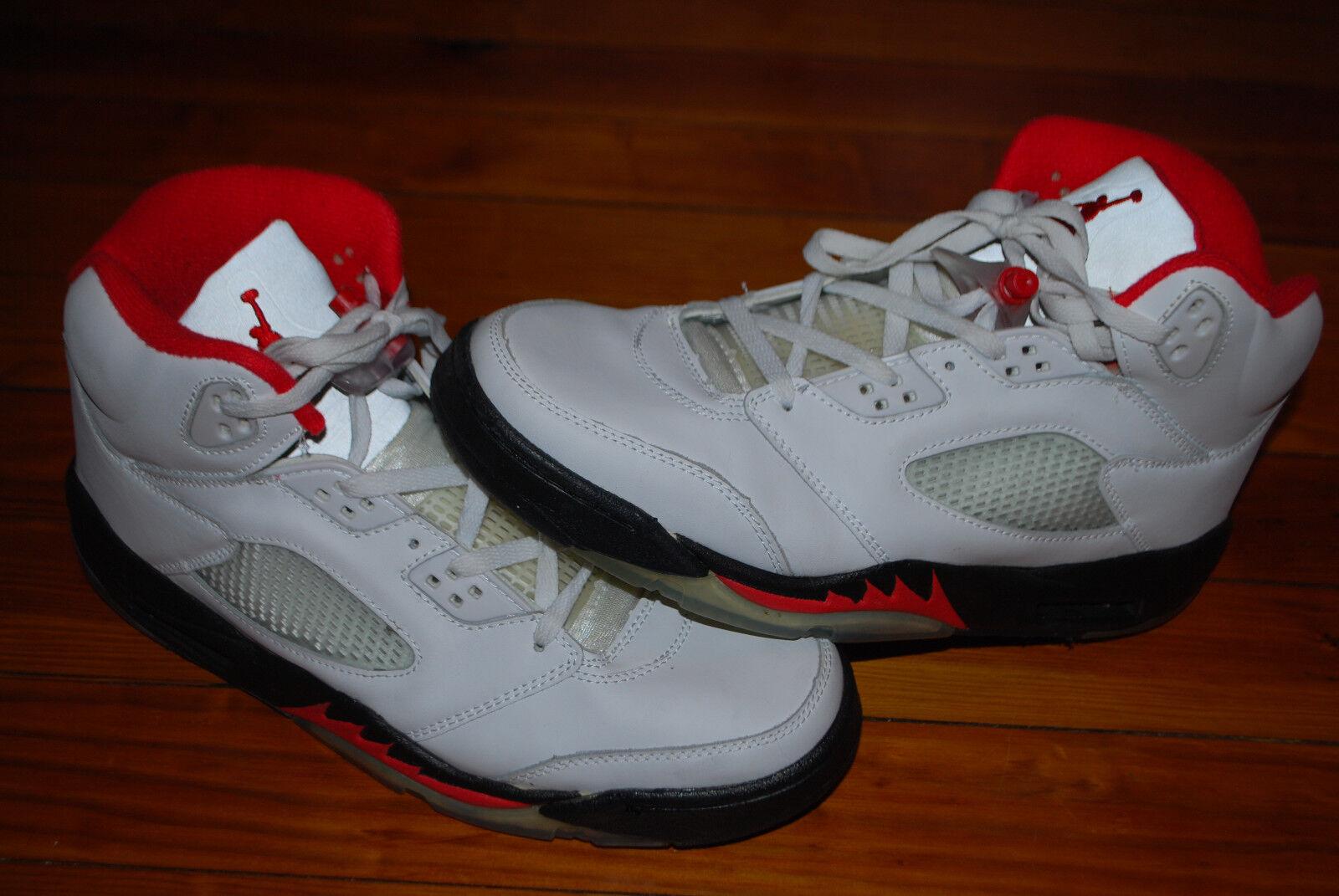 Men's Nike Air Jordan (V) 5 Retro White Fire Red Black Sneakers (13) 136027-101