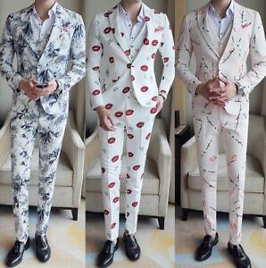 0feb09caf7f7 3pc Mens Floral Printed Suit Tuxedo Coat Vest Pant Shirt Dress ...