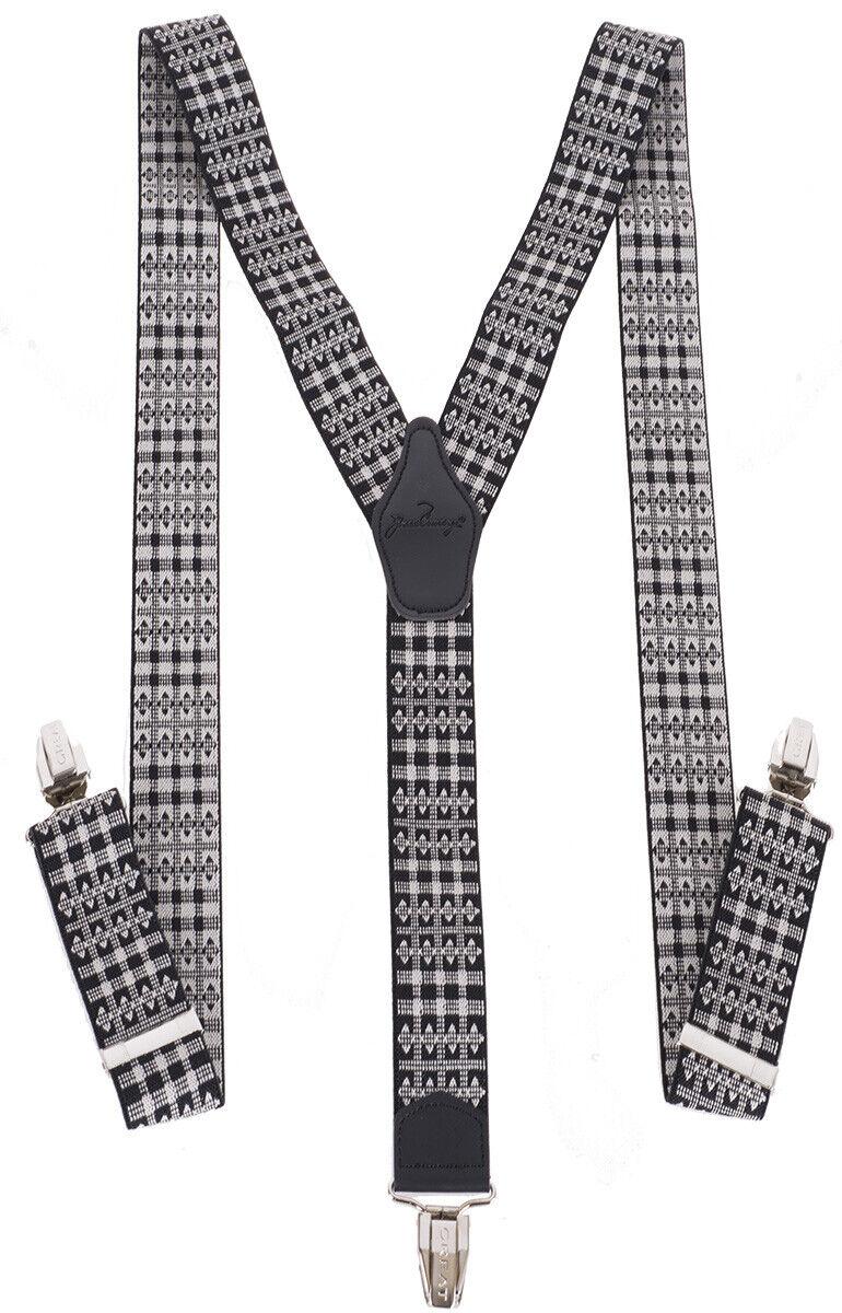 Retro JACQUARD Rauten KARO 50s Klemmen HOSENTRÄGER Suspenders Rockabilly