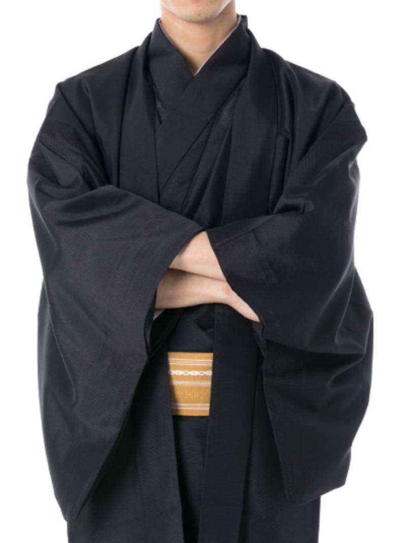 Japanese Men's Traditional Kimono HAORI Jacket Summer Coat Black from JAPAN