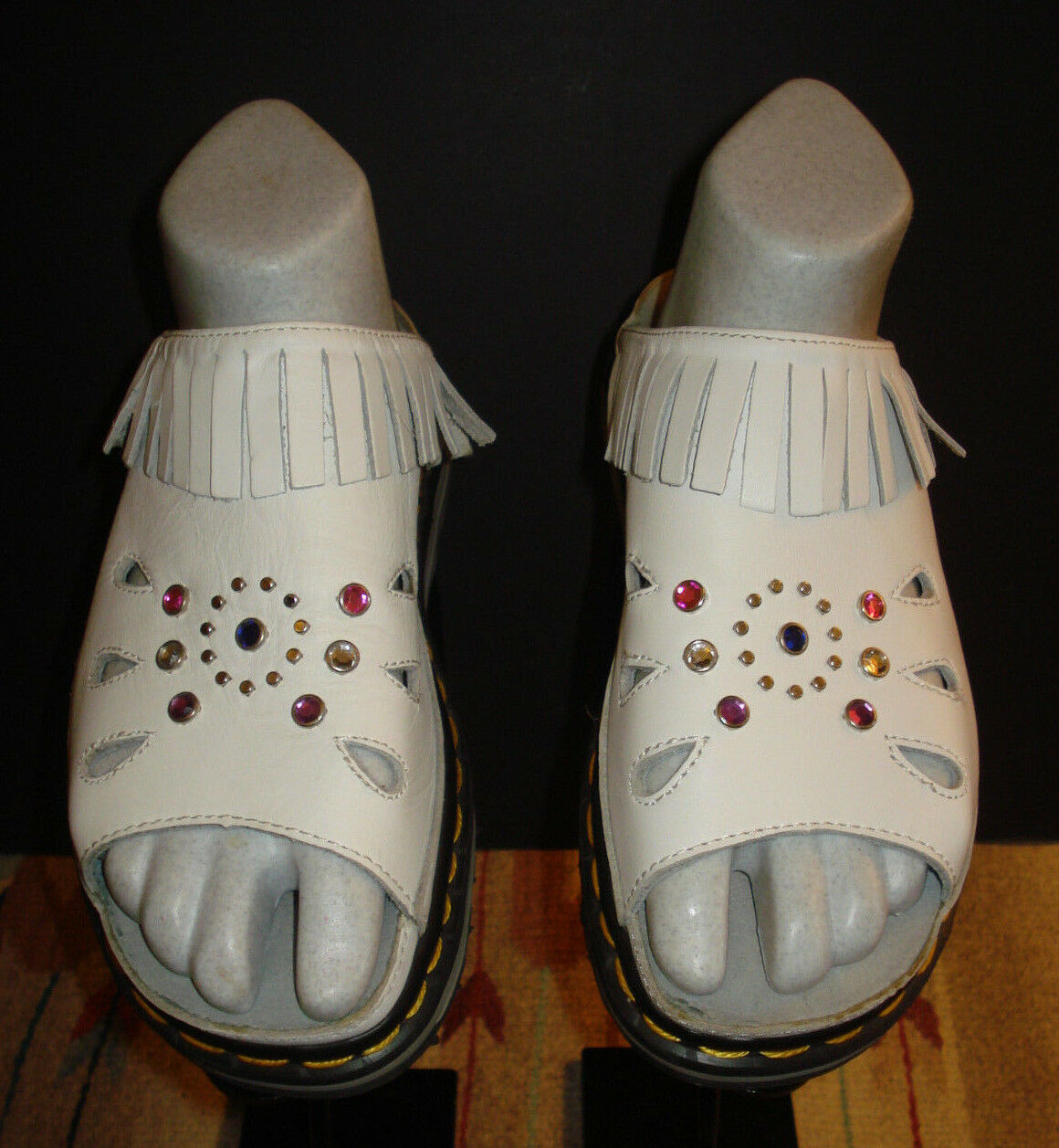 Dr. Martens ENGLAND AirWair White Leather Jeweled Fringed Chunky Slides Sz. 6