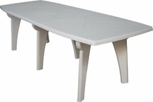 Tavolo Da Esterno Plastica.Dettagli Su Tavolo Da Giardino In Plastica Rettangolare 250x90x72h Bianco Areta Lipari2