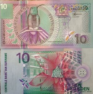 SURINAME-2000-10-GULDEN-UNC-NOTE-P-147-FLOWERS-amp-GREEN-THROATED-MANGO-VIBRANT