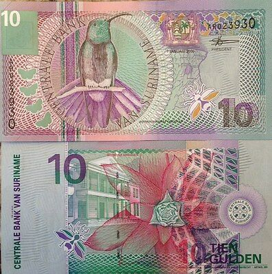 SURINAME 2000 10 GULDEN UNC NOTE P-147 FLOWERS & GREEN THROATED MANGO VIBRANT !!