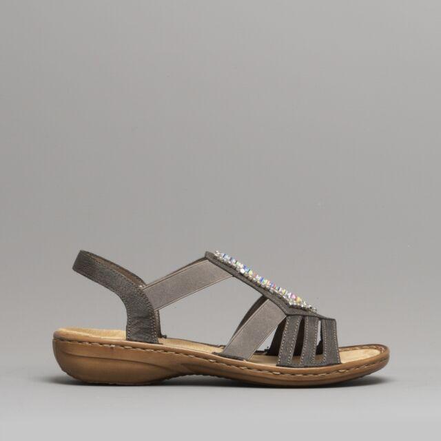 Rieker 608S1 45 Ladies Summer Slingback Cushioned Beaded Gladiator Sandals Grey