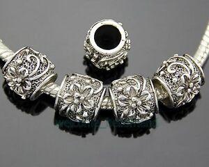30pcs-Tibetan-Silver-Flower-Charm-Beads-Big-Hole-Fit-Bracelet-ZY118