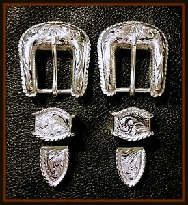 """2 - 5/8"""" Hand Engraved Silver Plated Buckle Sets with Rope Edge              #25"""