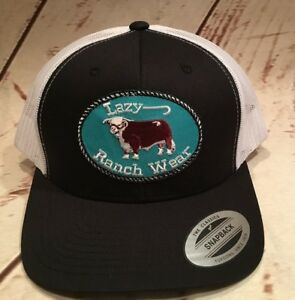 4c37d26e10f Lazy J Ranch Wear Black and White Hereford Trucker hat Western Wear ...