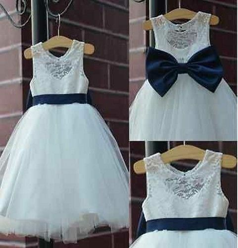 2018 rustic Ivory Lace Navy blue sash//bow Flower Girl Dress White Country Toddle