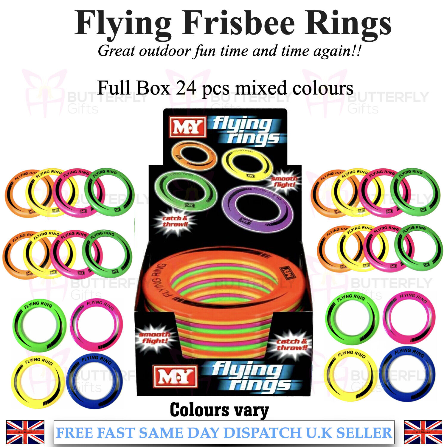 """10/"""" Neon Flying Ring Disc Frisbee Flyer Adult Kids Family Outdoor Play Toy New"""