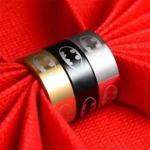 Couple-Men-Women-039-s-Jewelry-Stainless-Steel-Super-Hero-Batman-Band-Ring-Wedding