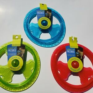 Dog-Toy-Frisbee-Bright-LED-Light-Up-Fun-Day-Night-Glow-in-The-Dark-Choose-Color