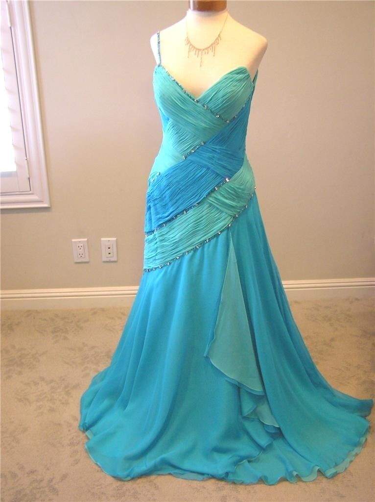 NWT Panoply social prom formal pageant SILK dress 4550 Agua  turquoise bluee 12