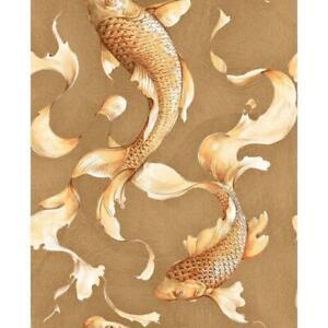 Wallpaper Designer Golden Orange Koi Fish on Gold Faux