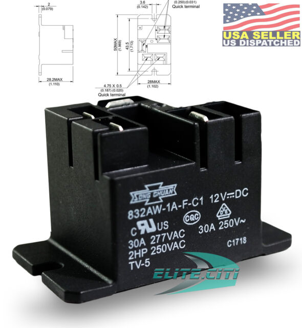 SONG CHUAN 832AW-1A-F-C1-12VDC General Purpose Relay 1A SPNO Quick Flanged