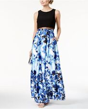 83c769d6d53 Betsy   Adam Womens Blue Floral-print Pleated Illusion Skirt Gown Size 4p