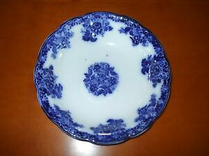 """Antique Flow Blue ("""" Bowl Waldorf New Wharf Semi-Porcelain England"""