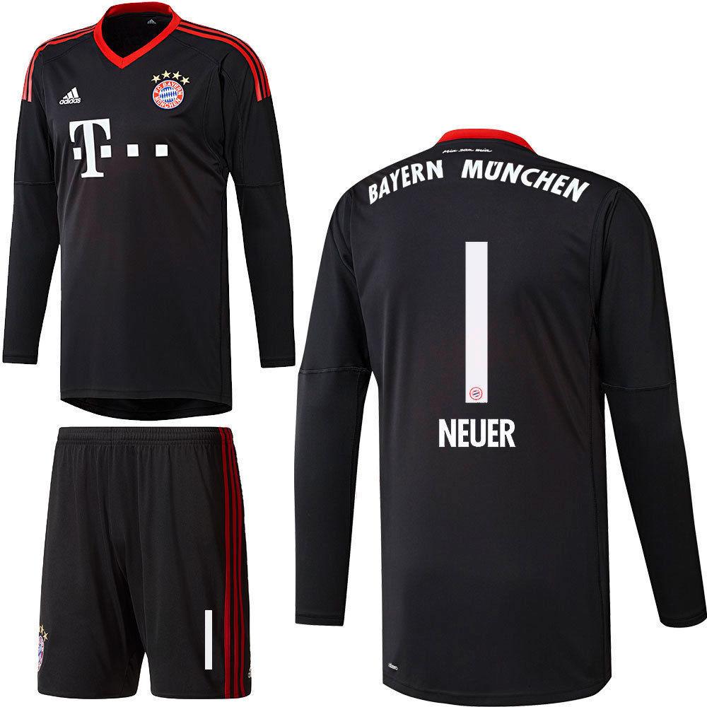 FC Bayern München Torwart Set Trikot und Hose 2017 2018 Manuel Neuer 1 schwarz