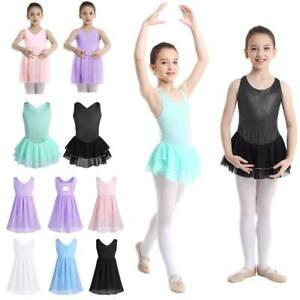 Kids Girls Strap Ballet Dance Leotard Gymnastics Chiffon Dress Outfits Dancewear