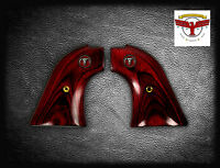 Colt Frontier Scout Oxblood Grips ; Peacemaker + Red Steer Skull Medallions ^