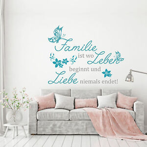wandtattoo wandaufkleber familie ist wo leben beginnt und liebe niemals endet ebay. Black Bedroom Furniture Sets. Home Design Ideas