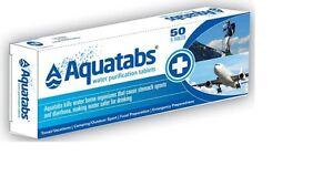 Aquatabs-8-5mg-Drinking-Treatment-Disinfect-Purification-Tablets-50-Pill-Aquatab