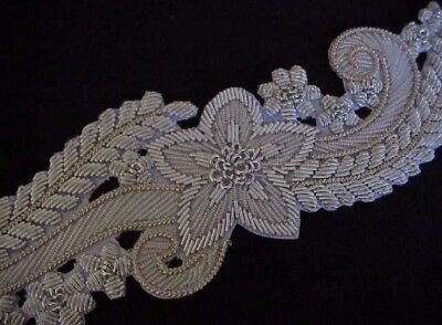 A Large & Elegant Hand-Beaded Applique. Silver Bullion