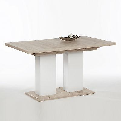 Esstisch Julie Esszimmertisch Tisch in Sandeiche weiß ausziehbar 140-220x90 cm