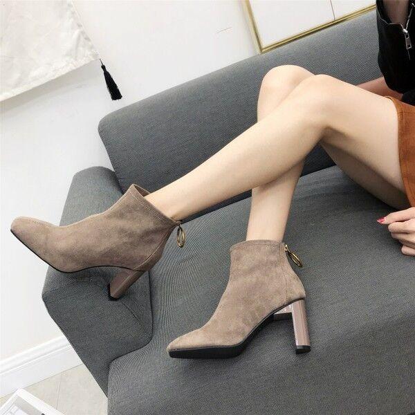stivali stivaletti bassi comodi  8 cm caviglia fango eleganti simil pelle 9540