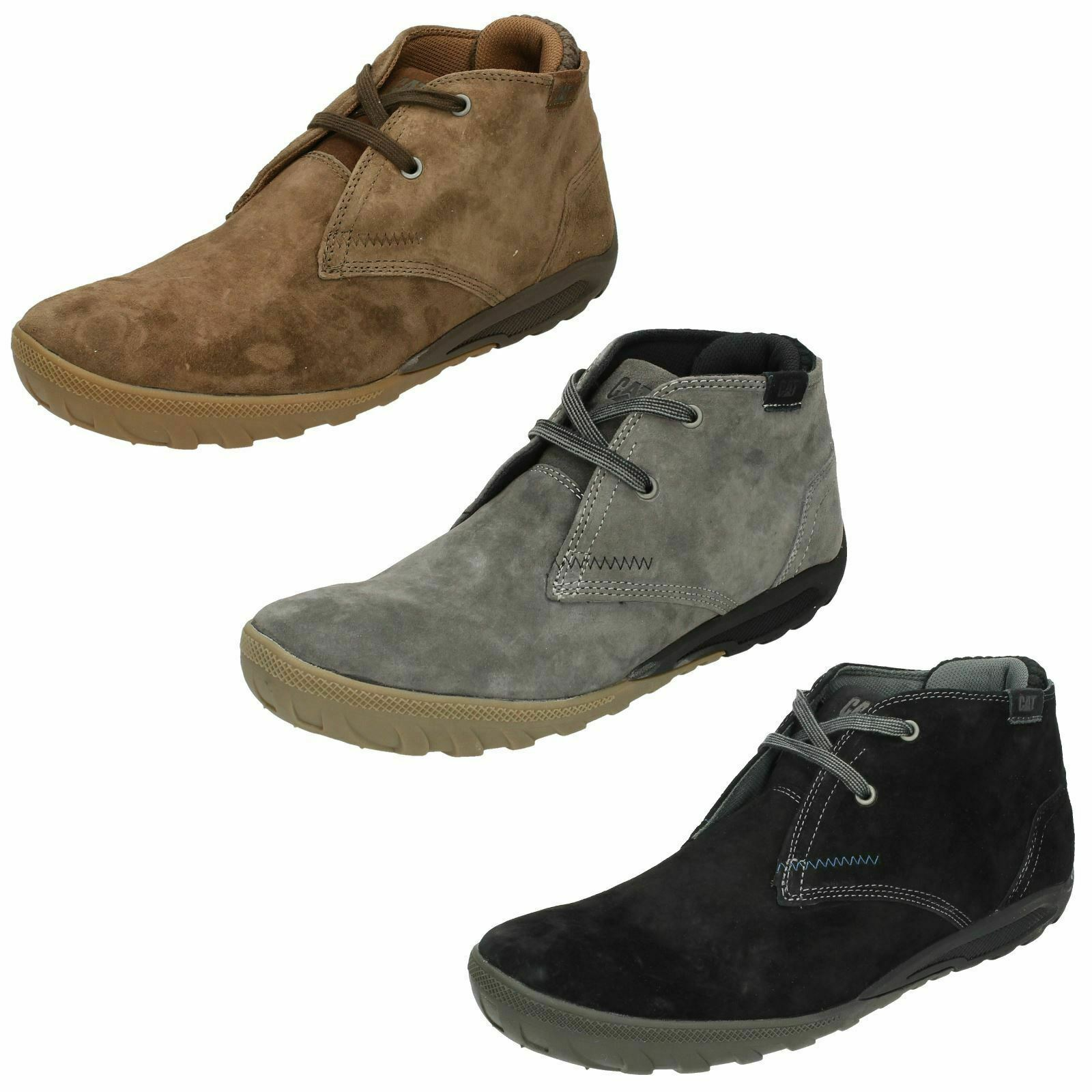 Mens Caterpillar Suede Leather Lace Up Comfy Work Shoes Ankle Boots : Crump Mid
