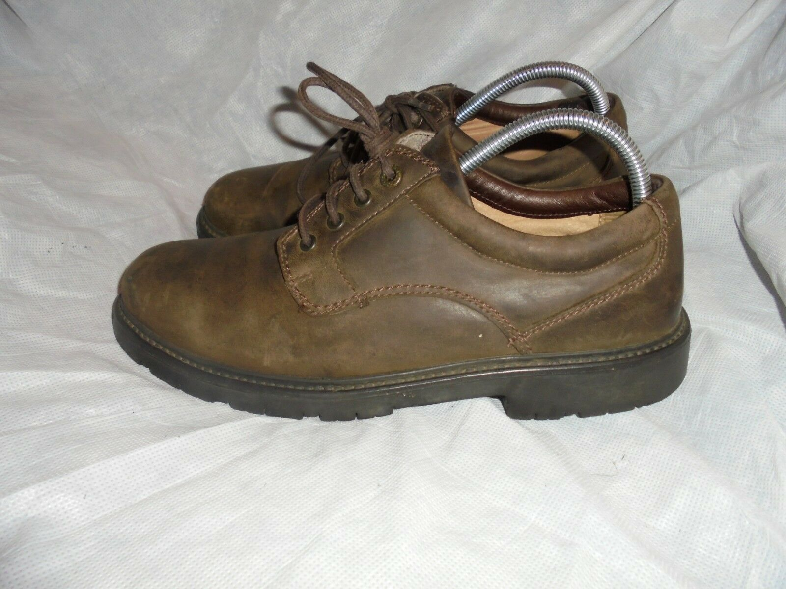 CLARKS  CUSHION CELL MEN BROWN LEATHER LACE UP SHOE SIZE VGC
