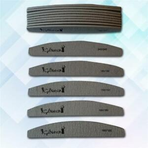 5Pc Double Nail Files Sided 100 150 180 240 Grit Grey Zebra Moon Emery Board